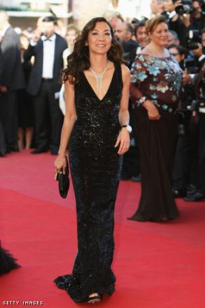 michelle yeoh red carpet dress by roberto cavalli