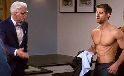 luke guldan shirtless body the good place