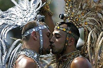 hot gay men kissing at rio carnaval