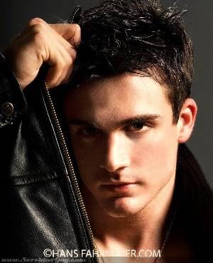 philip fusco male model in leather jacket