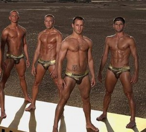 bikkembergs underwear models in gold briefs
