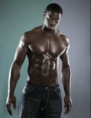 shirtless black male model washboard abs
