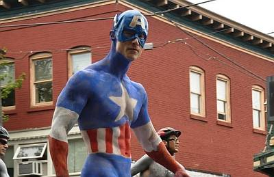 male body painting superhero edition - captain america