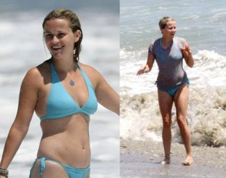 reese witherspoon bikini - blue two-piece swimsuit