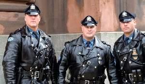 hot men in uniform beefy cops in leather jacket