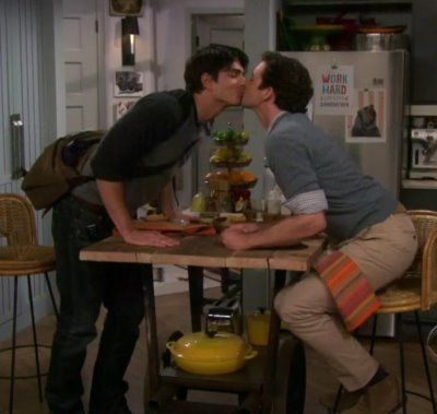 brandon routh kissing michael urie in partners