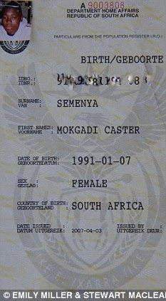 caster semenya gender identify proof
