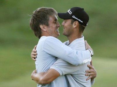 golf is so gay Martin Kaymer of Germany hugs manager Johan Eliott