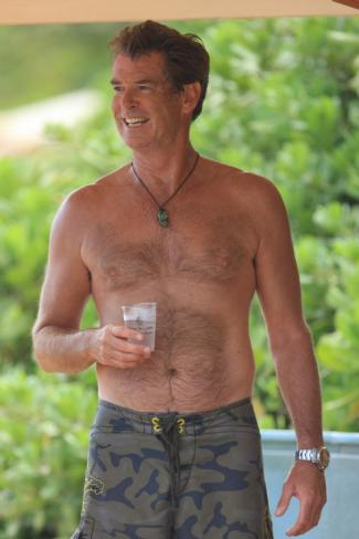 men with chest hair - pierce brosnan