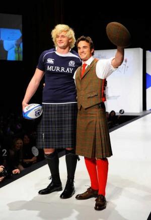 scotsmen wearing kilt - thom evans richie gray