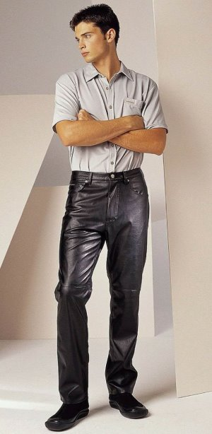 tom welling sexy leather pants