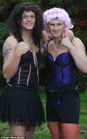 Daniel Lerwell and James Lilley crossdressing MMA figthers