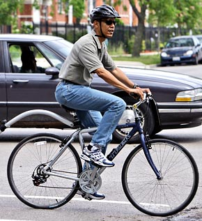 barack obama jeans for cycling