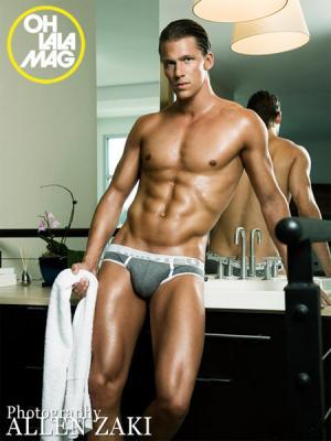swedish male model Calle Eriksson in underwear