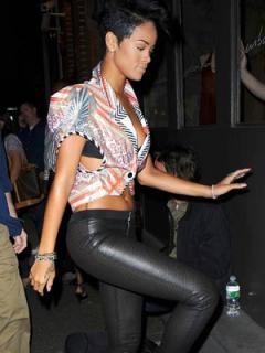 rihanna wet look stretch leather leggings