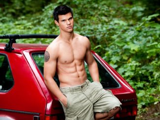 shirtless wolf pack taylor lautner