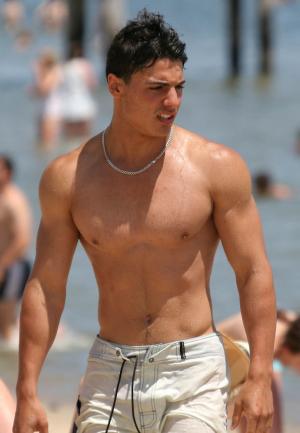 hot guy in wet beach shorts