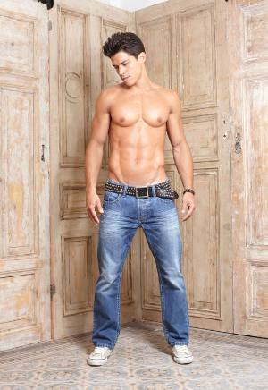 shirtless men in faded jeans distressed carlos friere
