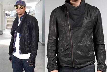 chris brown leather jacket helmut lang