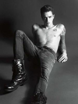 shirtless men in faded jeans josh beech
