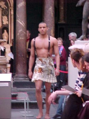 men in skirts runway model