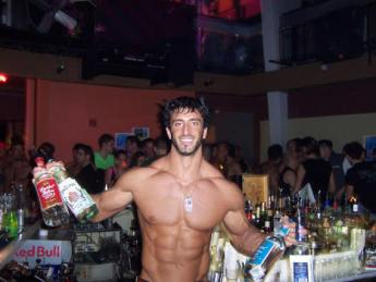 sexy shirtless bartender