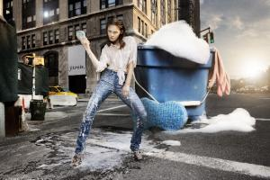 Washable Stretch Leather Jeans by Jean Claude Jitrois