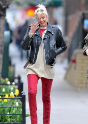 red pants for girls - agyness red pants and black leather