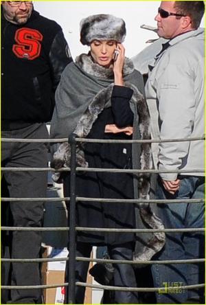 celebrities wearing fur - angelina jolie