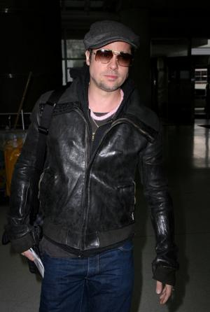 brad pitt black leather jacket