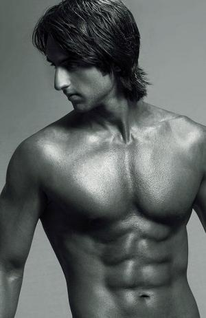 south asian male model washboard abs