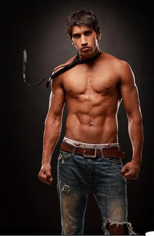 south asian male model hunks - washboard abs