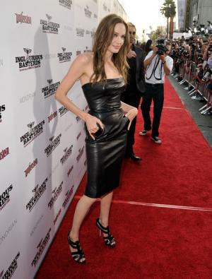 angelina jolie leather dress