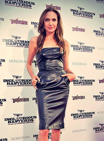 hot leather dress - angelina jolie collection - inglorious basterds premiere
