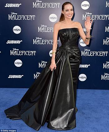 hot leather dress - angelina jolie collection - versace maleficent premiere