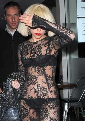 lady gaga see through black lace dress
