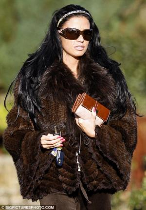 celebrities wearing fur coats - katie price