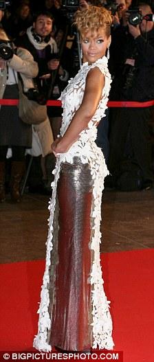 Celebrity White Dress lace on rihanna