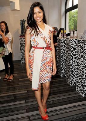 celebrities wearing wrap around dresses freida pinto