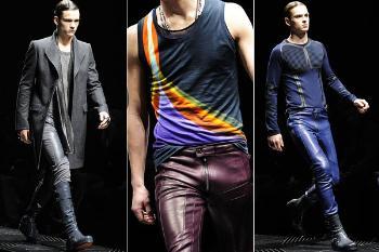 mens blue leather pants