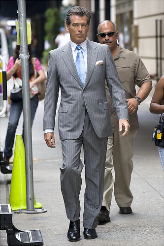 celebrity pinstripe suit pierce brosnan