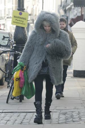 celebrity fur coats Pixie Geldof