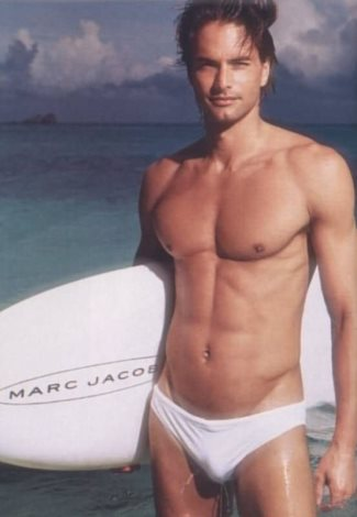 white speedo for men - male model Marcus Schenkenberg
