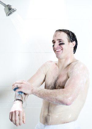 drew brees shirtless shower
