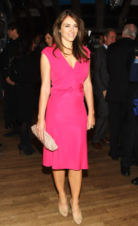 celebrities in pink dresses - elizabeth hurley