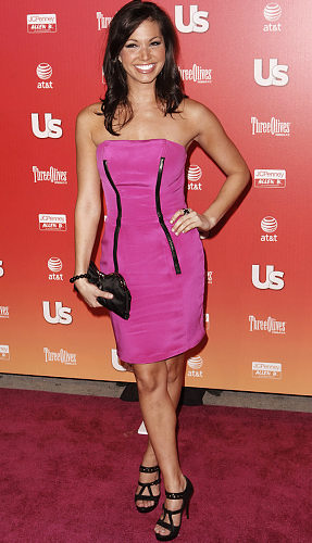 celebrities in pink dress melissa rycroft