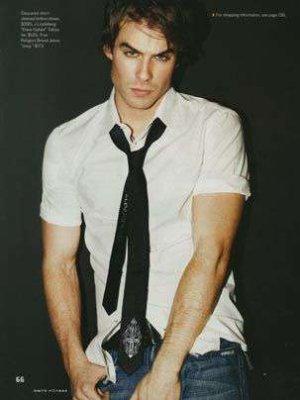 ian somerhalder fashion style blue jeans white shirt