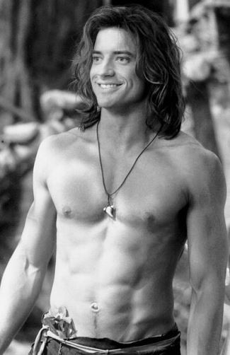 brendan fraser shirtless washboard abs