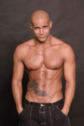 sexy bald italian male model in jeans