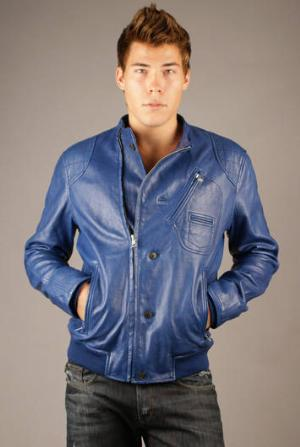 blue leather jacket by j lindeberg